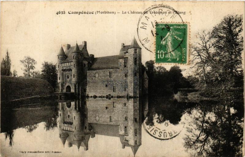 Carte postale ancienne Le Château de Trecesson et l'Etang à Campénéac